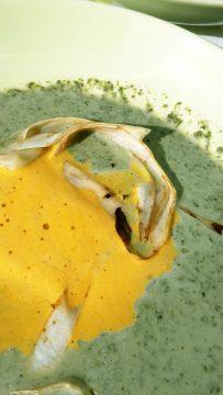 Abbildung: Möhren-Sanddorn Schaum zerfließt in der Suppe